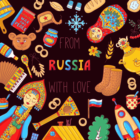 Russia colorful doodle traditional icons square banner template vector