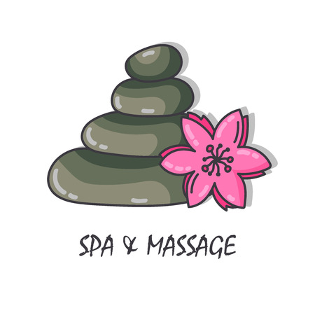 Spa stones and flower colorful vector illustration Ilustrace