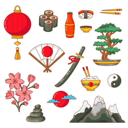Japan tradational symbols doodle colorful vector icons set Vektorové ilustrace