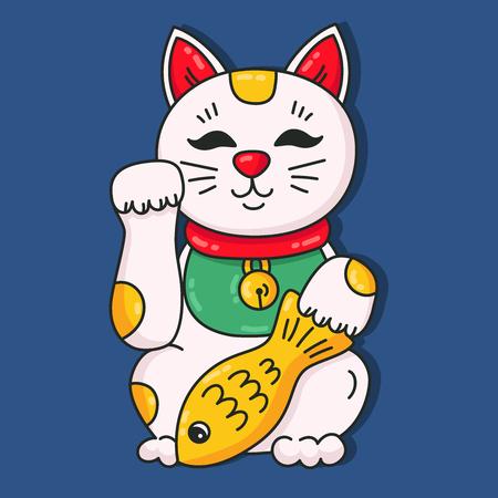 Japanese cat manaki neko colorful cute pet animal souvenir vector icon