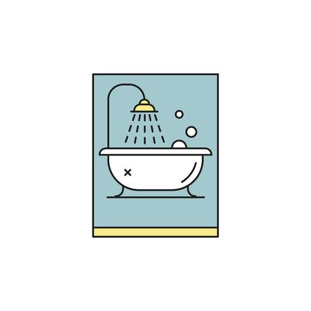 Bathroom bathtub thin line vector colorul icon
