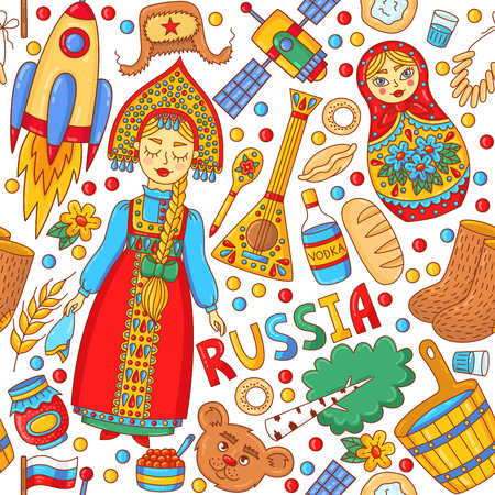 Russian beauty girl and traditional icons cartoon doodle colorful seamless vector pattern Stock Illustratie