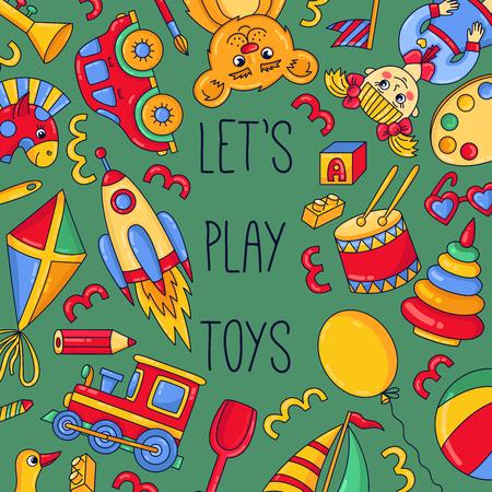 Kids children toys doodle cartoon icons vector banner template