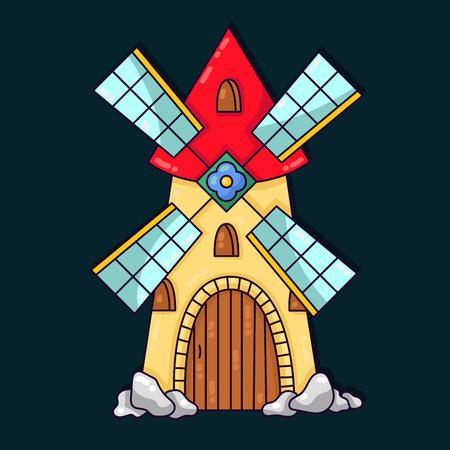 Vecchio cartone animato colorato carino edificio mulino illustrazione vettoriale