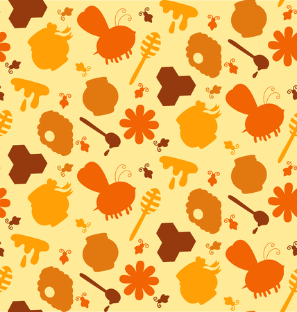 Honey bee products symbols silhouettes colorful cute seamless vector pattern