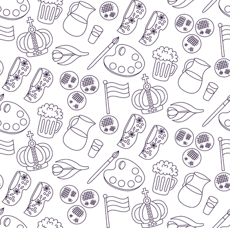 Holland Netherlands doodle line vector icons traditional souvenirs seamless vector pattern