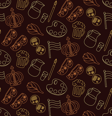 Holland Netherlands doodle line traditional icons seamless vector pattern