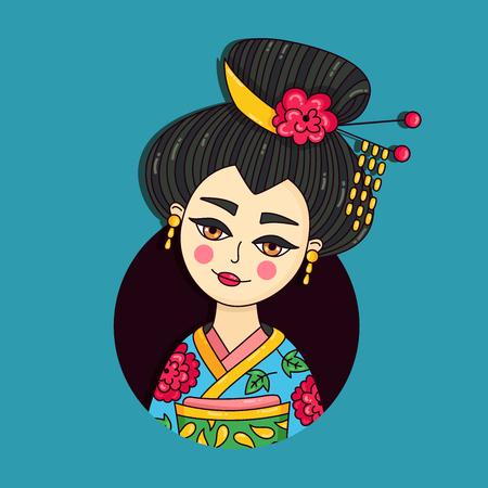 Geisha japan lady doodle cartoon colorful vector portrait