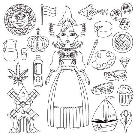 Holland Netherlands doodle line icons and girl character vector set