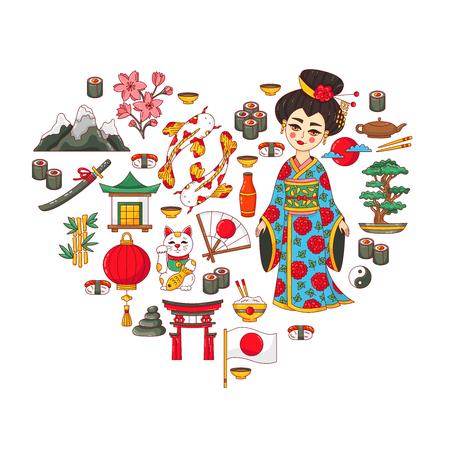 Japan doodle cartoon icons set heart shape design vector illustration Stock Illustratie