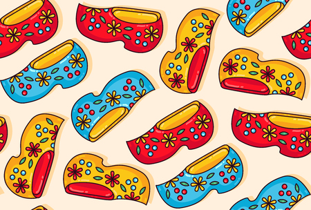 Holland netherlands wooden shoes clogs colorful cartoon seamless vector pattern Vector Illustration