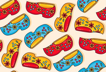 Olanda, Paesi Bassi, scarpe di legno, zoccoli, colorato, cartone animato, seamless, vettore, pattern Vettoriali