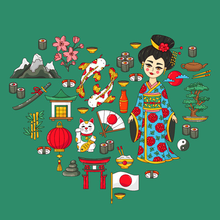 Japan traditional cartoon vector doodle icons heart shape set