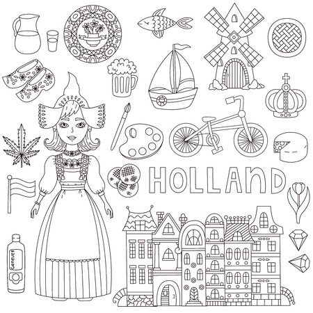 Holland Netherlands doodle line vector icons traditinal symbols set