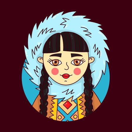 Eskimo northern girl chracter cartoon doodle vector illustration Banco de Imagens - 126761515