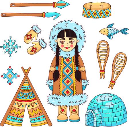 Eskimo polar north symbols doodle vcartoon vector set