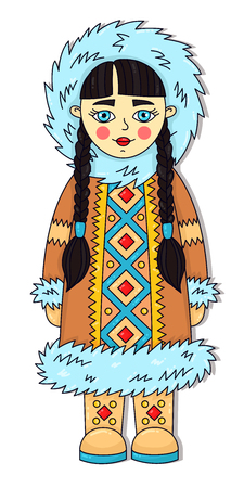 Eskimo girl winter cartoon girl character vector illustration Banco de Imagens - 126245667