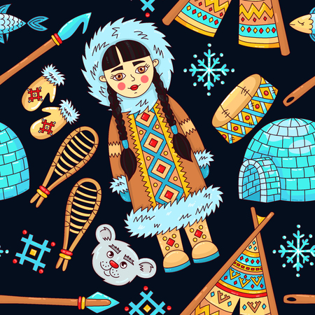 North arctic eskimo doodle cartoon icons seamless vector pattern