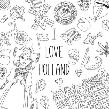 Holland Netherlands doodle traditional icons vector set