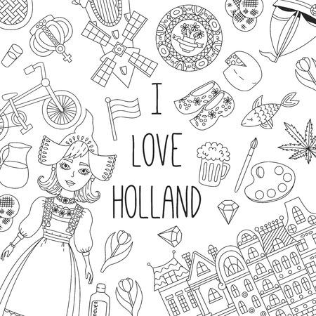 Insieme di vettore delle icone tradizionali di doodle dell'Olanda Paesi Bassi
