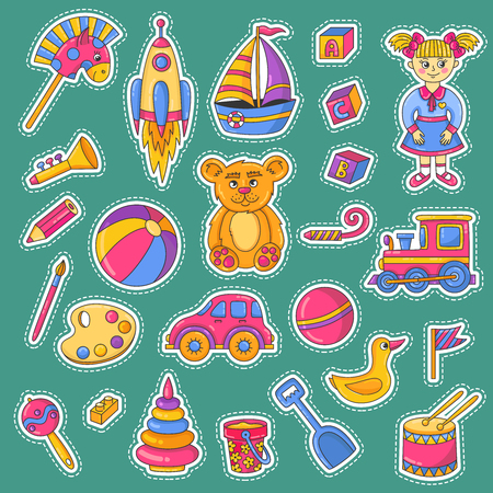 Children toys icons vector collection cute sticker style set