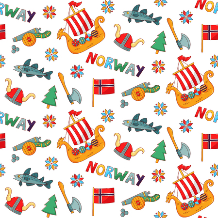 Norway symbols doodle cartoon colorful seamless vector pattern