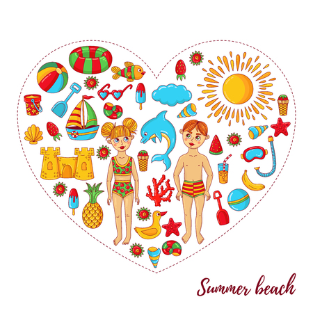 Summer beach vacation cute cartoon icons and children characters vector set in heart frame design 写真素材 - 124896570