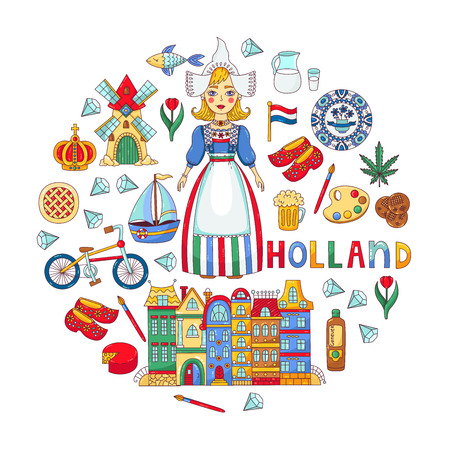 Holland Netherlands traditional symbols souvenirs and girl in national clothes vector set
