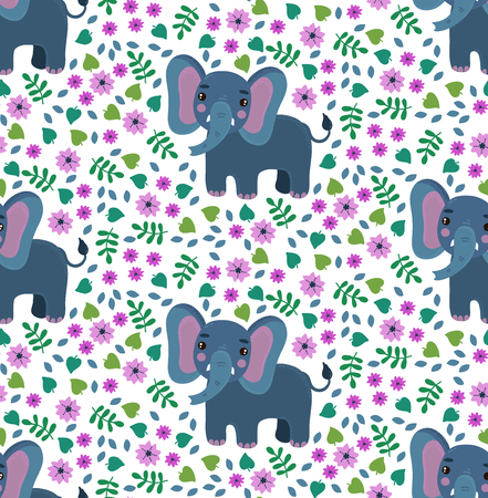 Elephant and flowers colorful cute simple seamless vector pattern