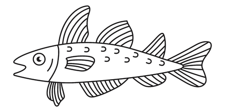 Cod fish doodle line simple vector icon