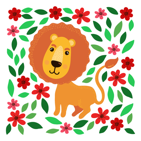 Lion with flowers and leafs cute vector illustration