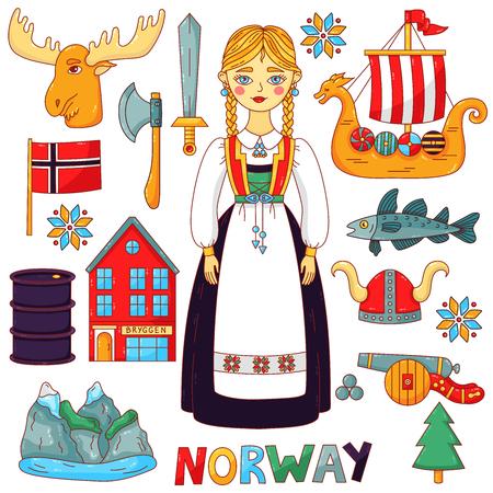 Norwegen traditionelle Symbole niedliche bunte Cartoon-Symbole Vektor-Set