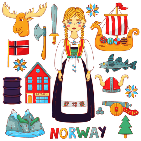 Norway traditional symbols cute colorful cartoon icons vector set Illustration