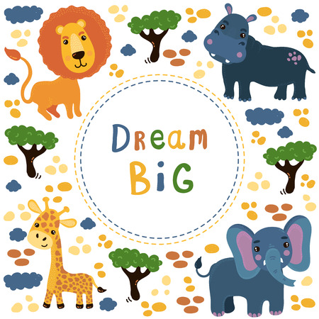 Cute animals elepahnt giraffe lion hippo vector template childish drawings of zoo and wild nature