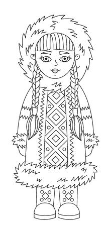 Eskimo alaska girl line doodle vector illustration character