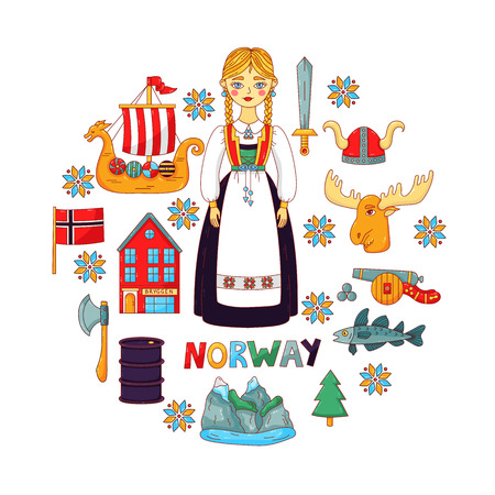 Norway doodle colorful cartoon icons in circle vector set Imagens - 124182699