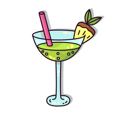 Cocktail alcohol beverage drink cartoon vector icon