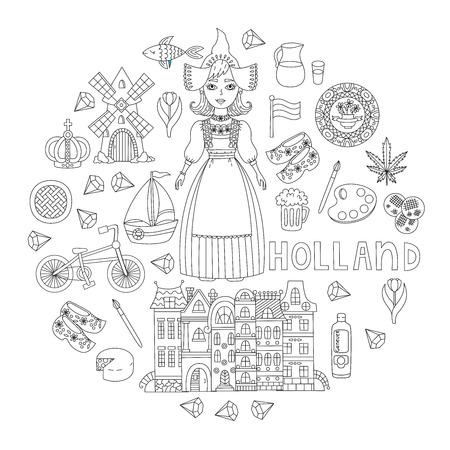 Holland Netherlands doodle line icons traditional symbols set in circle design