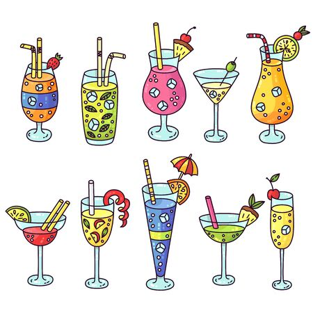 Cartoon alcohol tropical cocktails drinks vector set