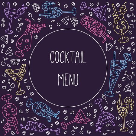 Alcohol cocktails line doodle banner template vector set