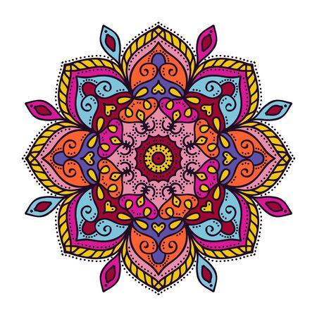 Mandala oriental zentangle coloring colorful doodle vector illustration Çizim