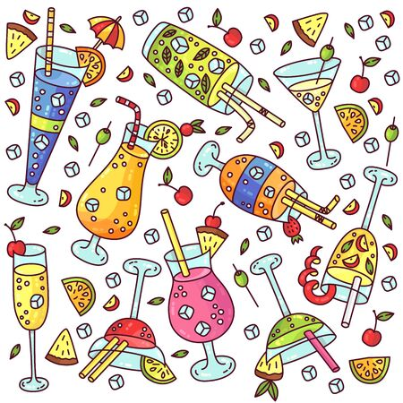 Cocktails colorful doodle cartoon cute vector icons set