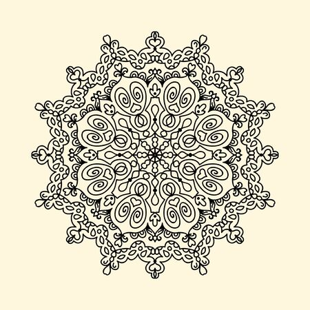 Mandala zentangle doodle line vector illustration coloring page