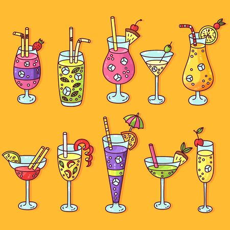 Cocktails doodle cartoon colorful icons vector set