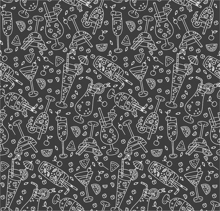 Cocktails seamless vector pattern doodles on black background
