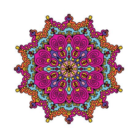 Mandala oriental doodle colorful vector illustration Ilustração