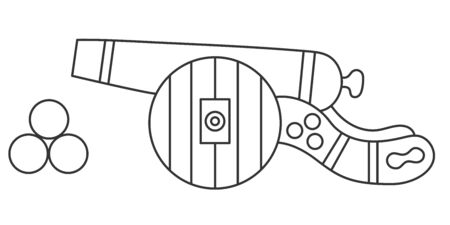 Cannon doodle line black and white vector icon