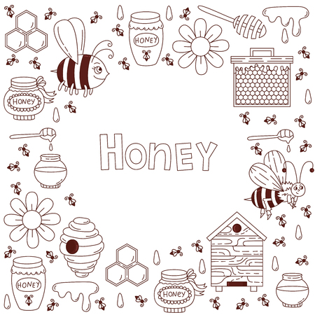 Honey bee doodle line icons set vector decorative border template Иллюстрация