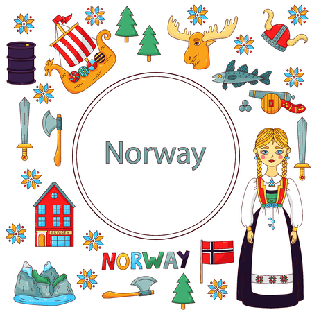 Norway Norwegian Scandinavian colorful doodle icons set frame design Фото со стока - 121594754