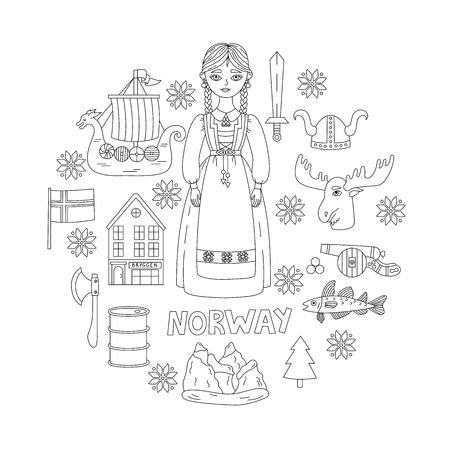 Norway national traditional doodle icons vector set Imagens - 121594755